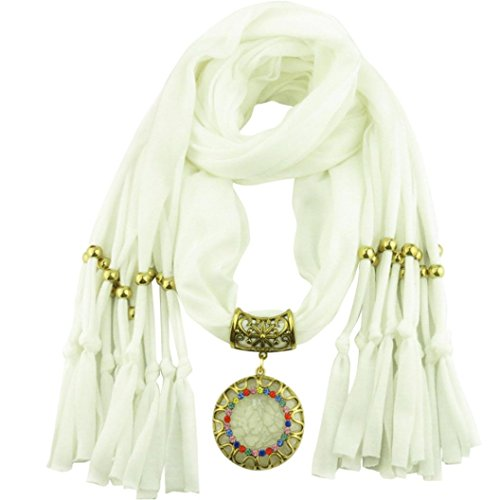 DDLBiz Women Pendant Scarf With Tassel Rhinestone Jewelry Scarves (White)