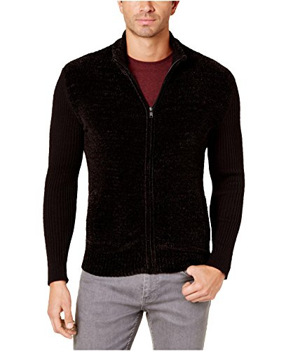 Alfani Men's Chenille Full-Zip Cardigan Sweater (Deep Black, Medium) ()