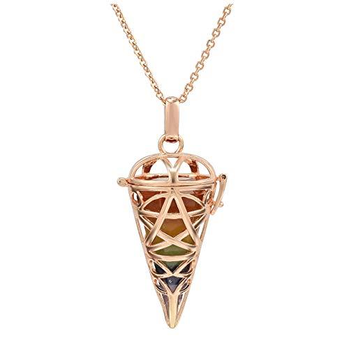 Top Plaza 7 Chakra Reiki Healing Crystals Stones Rose Gold Locket Pendant Necklaces Hexagonal Pointed Dowsing Pendulum Necklace for Women