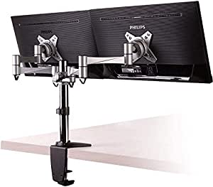 Dual Monitor Arms Fully Adjustable Desk Mount Stand For 2/Two LCD Screens 13 to 27 inch (duplus)