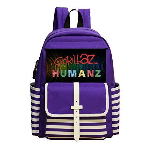 Humanz G-orillaz Music Videos Rock Hip Hop Logo Backpack Nautical Striped School Bookbags Rucksack Satchel for Teens Girls