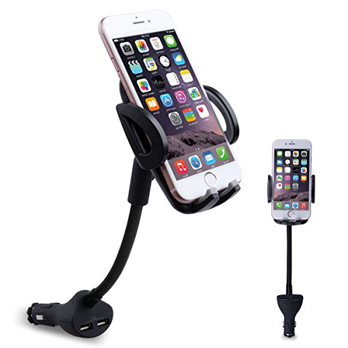 Te-Rich 2-in-1 Universal Cigarette Lighter Car Phone Holder Charger Mount for iPhone, Samsung Galaxy and More Smartphones (Dual USB, 3.1A Max) - Universal Phone Car Mount Charger
