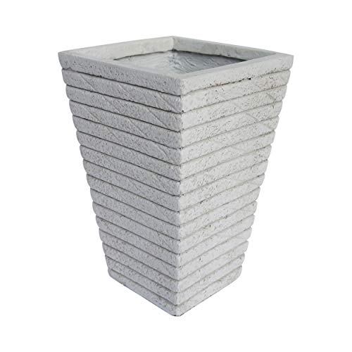 - Great Deal Furniture Hedy Garden Urn Planter, Square, Tapered, Riveted, Antique White Lightweight Concrete