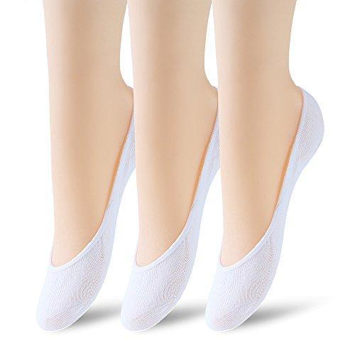 3 Pairs No Show Socks Women No Show Liner Socks Womens No Show Socks Thin Low Cut Casual Socks Non Slip(White 3pack)