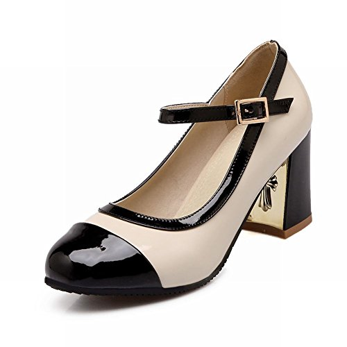 Latasa Women's Fashion Casual Two-Toned Buckle Chunky High-Heel Mary Janes Shoes (10, Black)