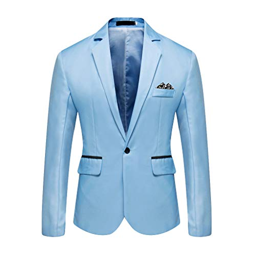 Outwear Coat Suit Tops Premium Classic Fit Suit Stylish Casual Solid Blazer Business Wedding Party Men's (XXL,11#Sky Blue)]()