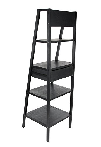 Save Space Organize & Be Modern All In One With This Ladder Shelf Made fo Fir Wood in Classic Black Matte Color by eCom Fortune