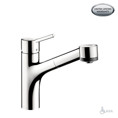 hansgrohe Talis S Easy Install 1-Handle 9-inch Tall Kitchen Faucet with Pull Down Sprayer in Chrome, -