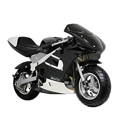 MotoTec 2-Stroke Gas Pocket Bike Black, EPA Certificated