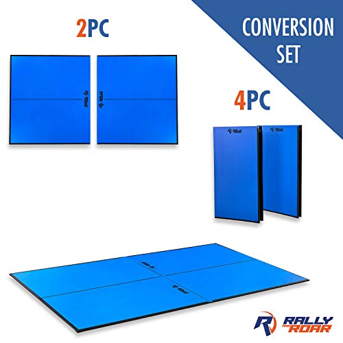 "(Indoor Table Tennis Conversion Top with Net Set by Rally & Roar – 4 Piece Set, 1/2"" - Quick Set Up, Portable Tops, Space Saving Storage, Regulation Tournament Size – Family and Friend Game Room Fun)"
