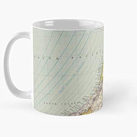Nuevo de mapa de la antigua Zelanda Cartografía Vintage Historical Antique Best 11oz cerámica taza de café Personalizar