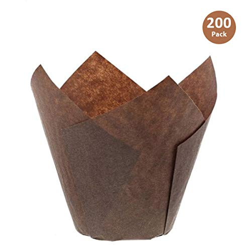 Brown Tulip Cupcake Liners, Small Size Paper Muffins Baking Cups, Tulip Cupcake Wrappers Providing a Beautiful Display, Natural & FDA Approved, Oz. Capacity: 2.25 to 3.5, Bulk of 200pc