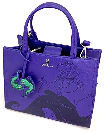 Loungefly x Disney The Little Mermaid Ursula Debossed Crossbody Bag with Eel Charm (One Size, Purple)