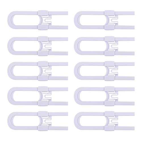 CUTESAFETY Sliding Cabinet Locks - Baby Proofing Cabinets with Adjustable Child Safety Lock - Childproof Latches for Knobs,Handles on Kitchen Doors,Storage Door,Cupboard,Closet,Dresser (White, 10)