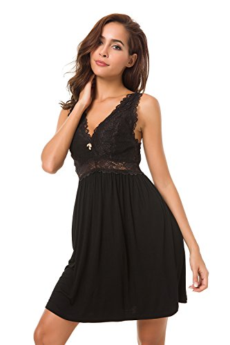 Lace Trim Long Chemise - Alcea Rosea Chemise Sleepwear Nightgown Sleeveless Lace Cup Trim Knit Dress for Women (Black, S Short)