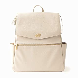 Freshly Picked - Convertible Classic Diaper Bag Backpack - Large Internal Storage 10 Pockets Wipeable Vegan Leather - Birch Ivory