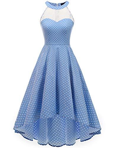 DRESSTELLS Women's Vintage 50's Bridesmaid Halter Floral Lace Cocktail Prom Party Hi-Lo Dress Blue Small White Dot XL