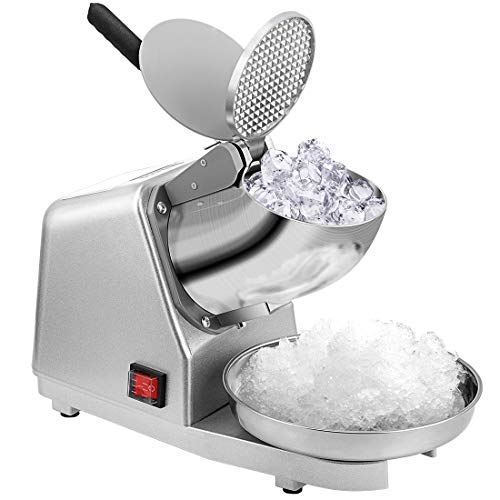 VIVOHOME Electric Dual Blades Ice Crusher Shaver Snow Cone Maker Machine Silver 143lbs/hr for Home and Commerical - Electric Blade