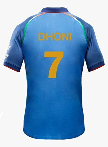 KD Team India ODI Cricket Supporter Jersey 2016-2017 - Kids to Adult 2017 (Dhoni 7) Size 22
