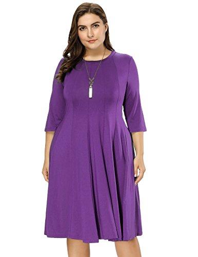 Hanna Nikole Women's Textured Trapeze Midi Dress in Plus Size Purple 2X