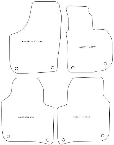 1168 Grey Trim Car Mats to fit Superb II Double Protection Carpet Car Mats 2008-2015 Black HP Charcoal Carpet