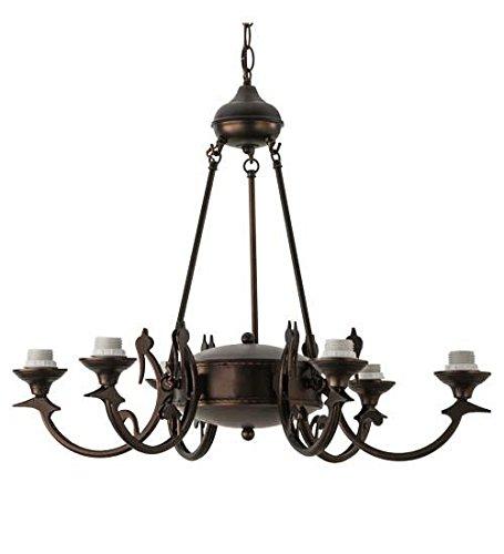 Meyda Tiffany 26946 Victorian - Six Uplight Chandellier, Mahogany Bronze Finish -