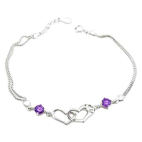 Dehang Damen Armkette Herz Armreifen Charmsarmband 925 Sterling Silber mit zufälligem Geschenk Etui-weiß/violett