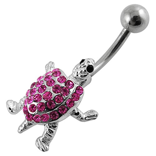Pink CZ Gemstone Fancy Movable Turtle 925 Sterling Silver with Grade 23 Solid Titanium Belly Button Ring