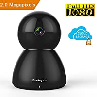 Zeetopin 1080P Wifi Security Camera , Indoor Dome Surveillance Cams Pan / Tilt / Zoom Wireless IP camera , Remote Home Monitoring Systems, Day/Night Webcams Cloud Storage for Pet, Baby Video Monitor
