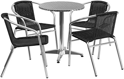 Flash Furniture 23.5 Round Aluminum Indoor-Outdoor Table Set with 4 Black Rattan Chairs