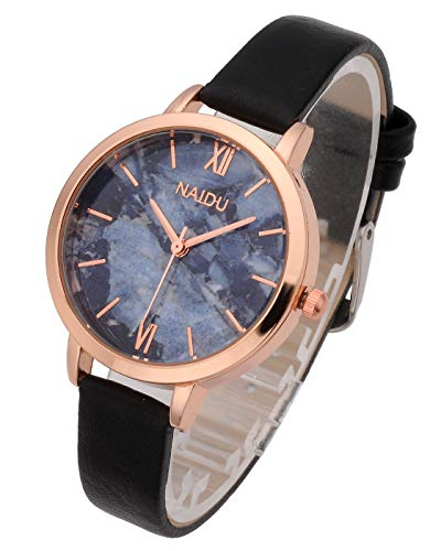 Top Plaza Women Girls Thin Leather Wrist Watch Fashion Unique Rose Gold Case Marbled Roman Numerals Dial Analog Quartz Watches Blue Gray Dial ()