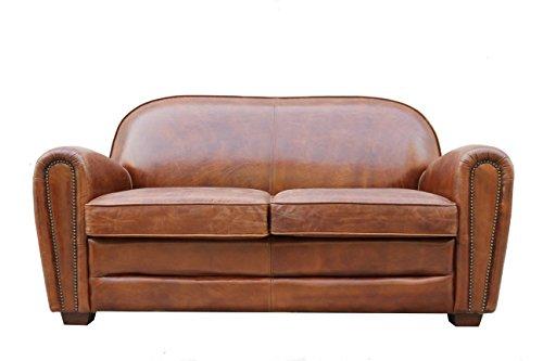 Pasargad Carpets Paris Club Genuine Leather Loveseat, 2' 9