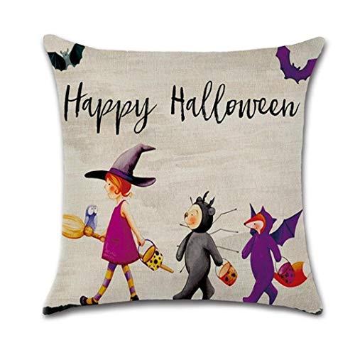 Halloween Pillowcase Dress Patterns (ladiy Home Party Pumpkin House Flax Fiber Square Halloween Pillow Cover)