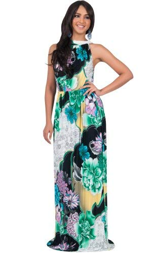 KOH KOH Petite Womens Long Summer Flowy Sexy Halter Neck Sleeveless Casual Floral Print Printed Beach Hawaiian Spring Boho Gown Gowns Maxi Dress Dresses, Green Black and White XS 2-4 (1)
