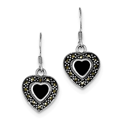 925 Sterling Silver Black Onyx Heart & Marcasite Dangle Earrings (Marcasite Heart)