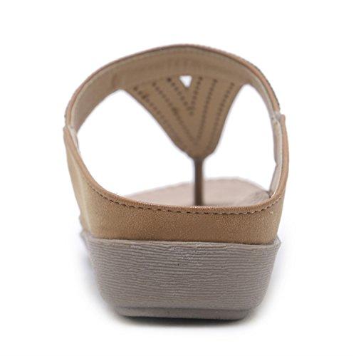 2018 Europe Taille Sandales Plates Chaîne Les LIANGXIE et Chaussures Nouvelle Xiaoqi États Unis Confort Diamant Marron Grande dEww1q7x