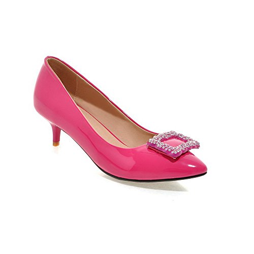 AmoonyFashion Womens PU Solid Pull-on Pointed Closed Toe Kitten-Heels Pumps-Shoes Peach WdYLWg