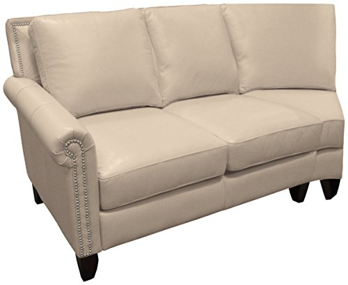 Omnia Leather Benjamin Left Arm 2 Cushion Loveseat with Half Curve in Leather, with Nail Head, Softstations White Winter