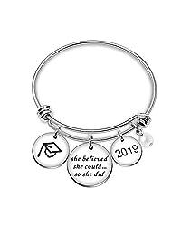 Bangle Bracelet Best Friend Jewelry Women Girl Pearl Graduation Cup She Believed She Could So She Did 2018