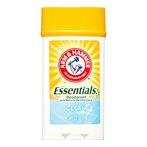 ARM & HAMMER Essentials Solid Deodorant, Clean, Wide Stick, 2.5 oz. (Pack of 3)