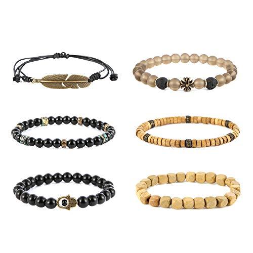 - HZMAN Mix 6 Wrap Bracelets Men Women, Hemp Cords Wood Beads Ethnic Tribal Bracelets, Leather Wristbands Hamsa Hand Cross Feather