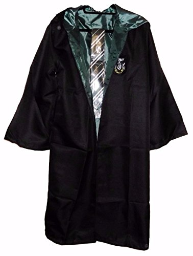 Adult Harry Potter Slytherin Robe (Harry Potter Slytherin School Crest Adult Size ROBE With Hood and Tie (Large))