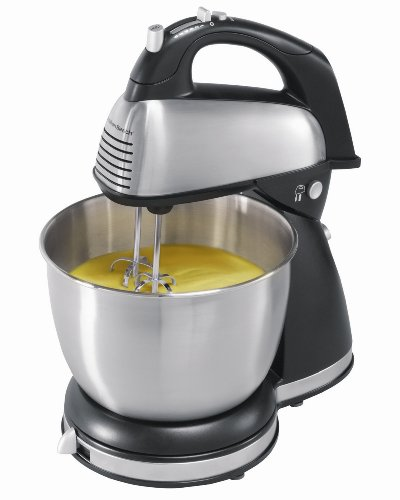 A classic, black and silver stand mixer with 6 speeds available.