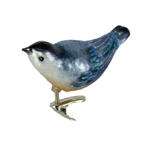 Old World Christmas Ornaments: Nuthatch Glass Blown Ornaments for Christmas Tree Bird House Christmas Tree Ornament