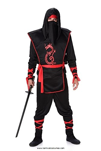 Black Red Ninja Costume Set - Halloween Mens Dragon Assassin Warrior, Large -