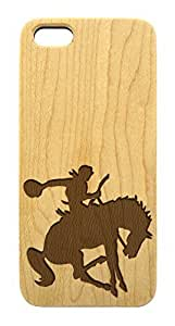 Wood Phone Case - Cowboy Rodeo Bucking Horse - iPhone 5 5s- Laser Cut