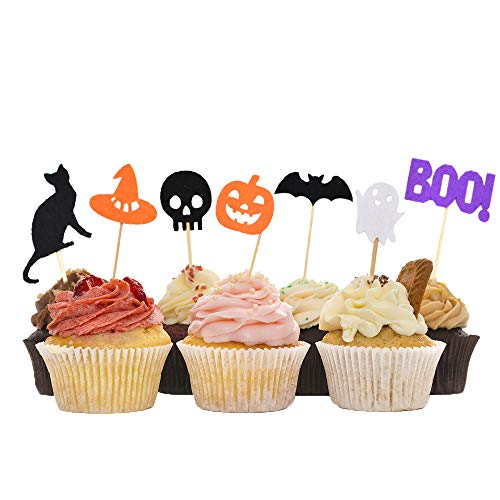 HZOnline Halloween Cupcake Toppers Food Cake Picks for