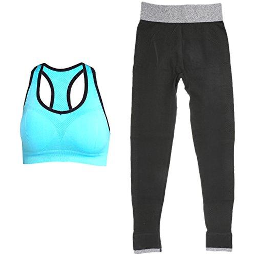 MagiDeal 2 Piezas Activewear Sujetador Empujar Hacia Arriba Alambre Yoga Y Pantalones Deportivo Polainas azul negro