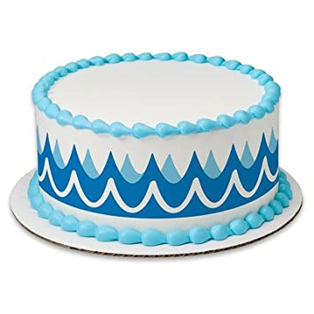 Waves Blue Ocean Birthday Peel STick Edible Cake Topper Decoration For Borders W