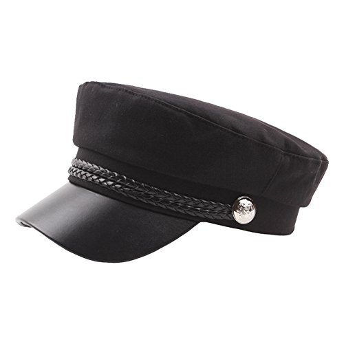 Funbase Adult Teens Military Cadet Hat Genuine Leather Army Captain Costume ()